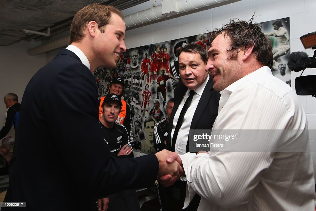 Prince William, Duke of Cambridge meets Andrew Hore of the All Blacks following the international match between Wales and New Zealand at Millennium Stadium on November 24, 2012 in Cardiff, Wales.