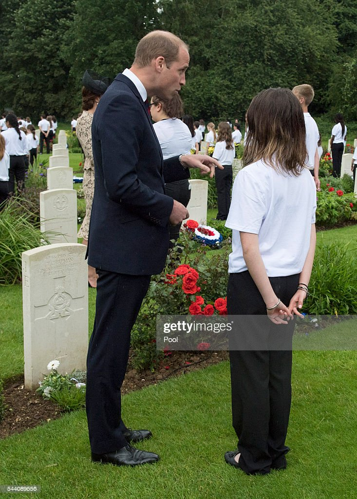 <a gi-track='captionPersonalityLinkClicked' href=/galleries/search?phrase=Prince+William&family=editorial&specificpeople=178205 ng-click='$event.stopPropagation()'>Prince William</a>, Duke of Cambridge meets British and French school children during the Commemoration of the Centenary of the Battle of the Somme at the Commonwealth War Graves Commission Thiepval Memorial on July 1, 2016 in Thiepval, France. The event is part of the Commemoration of the Centenary of the Battle of the Somme at the Commonwealth War Graves Commission Thiepval Memorial in Thiepval, France, where 70,000 British and Commonwealth soldiers with no known grave are commemorated.