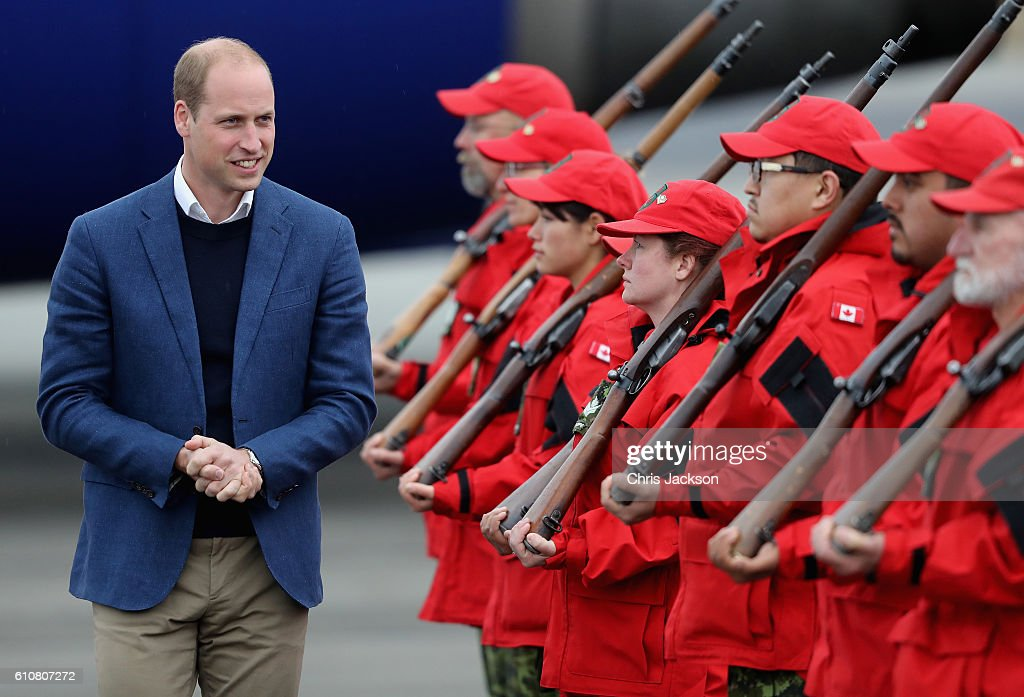 Prince William, Duke of Cambridge meets Canadian Rangers as he arrives in Whitehorse during the Royal Tour of Canada on September 27, 2016 in Whitehorse, Canada. Prince William, Duke of Cambridge, Catherine, Duchess of Cambridge, Prince George and Princess Charlotte are visiting Canada as part of an eight day visit to the country taking in areas such as Bella Bella, Whitehorse and Kelowna