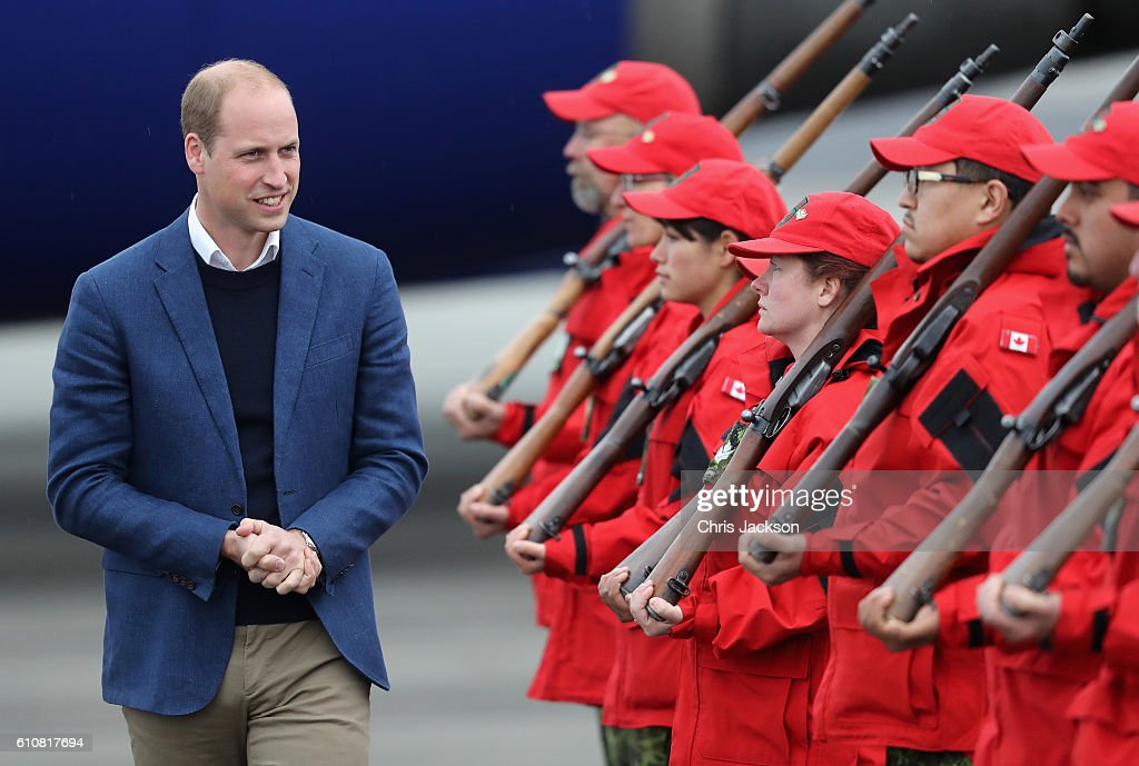 Prince William, Duke of Cambridge meets Canadian Rangers as he arrives in Whitehorse during the Royal Tour of Canada on September 27, 2016 in Whitehorse, Canada. Prince William, Duke of Cambridge, Catherine, Duchess of Cambridge, Prince George and Princess Charlotte are visiting Canada as part of an eight day visit to the country taking in areas such as Bella Bella, Whitehorse and Kelowna.