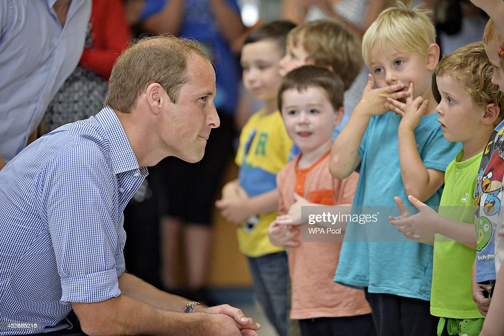 <a gi-track='captionPersonalityLinkClicked' href=/galleries/search?phrase=Prince+William&family=editorial&specificpeople=178205 ng-click='$event.stopPropagation()'>Prince William</a>, Duke of Cambridge meets children from Bridgend nursery during a visit to the Coach Core project at Gorbals Leisure Centre on July 29, 2014 in Glasgow, Scotland.