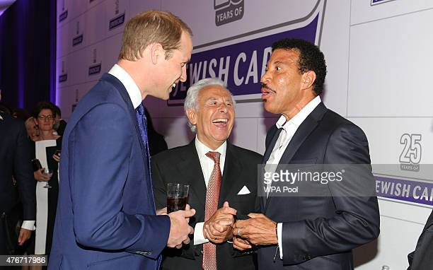 Prince William Duke of Cambridge meets Lionel Richie as he attends the 25th anniversary celebrations of Jewish Care at Alexandra Palace on June 11...