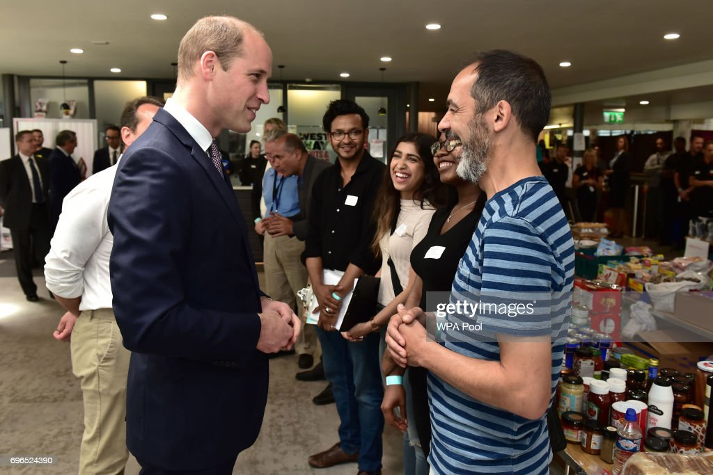 Prince William, Duke of Cambridge meets members of the community affected by the fire at Grenfell Tower in west London during a visit to the Westway Sports Centre which is providing temporary shelter for those who have been made homeless in the disaster on June 16, 2017 in London, England. 17 people have been confirmed dead and dozens still missing, after the 24 storey residential Grenfell Tower block in Latimer Road was engulfed in flames in the early hours of June 14. Emergency services will spend a third day searching through the building for bodies. Police have said that some victims may never be identified.