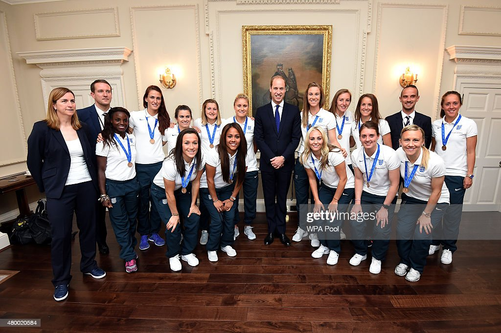 Prince William, Duke of Cambridge meets members of the England Women's Football team during a breakfast reception at Kensington Palace, on July 9, 2015 in London, England.