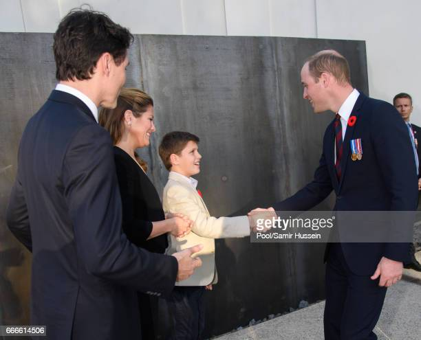 Prince William Duke of Cambridge meets Prime Minister of Canada Justin Trudeau Sophie Trudeau and Xavier Trudeau at a reception during the...