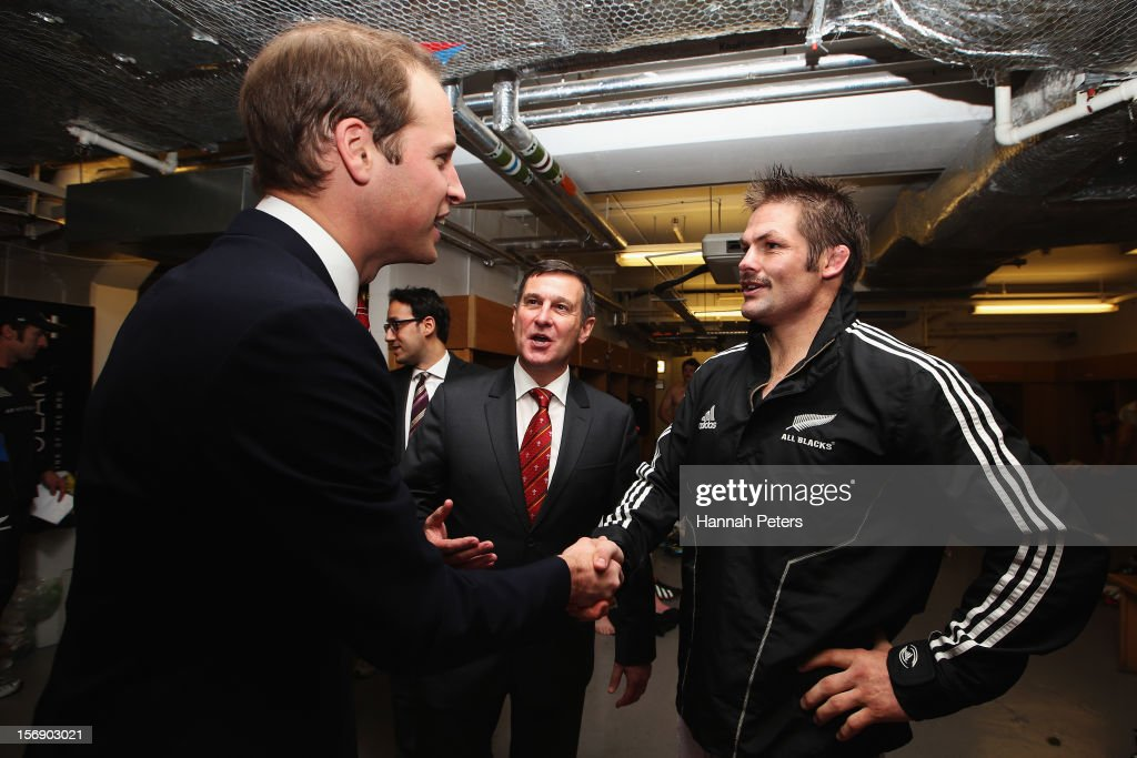 Prince William, Duke of Cambridge meets Richie McCaw of the All Blacks following the international match between Wales and New Zealand at Millennium Stadium on November 24, 2012 in Cardiff, Wales.