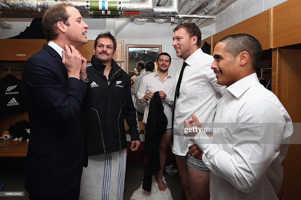 Prince William, Duke of Cambridge meets Richie McCaw, Wyatt Crockett and Aaron Smith of the All Blacks following the international match between Wales and New Zealand at Millennium Stadium on November 24, 2012 in Cardiff, Wales.