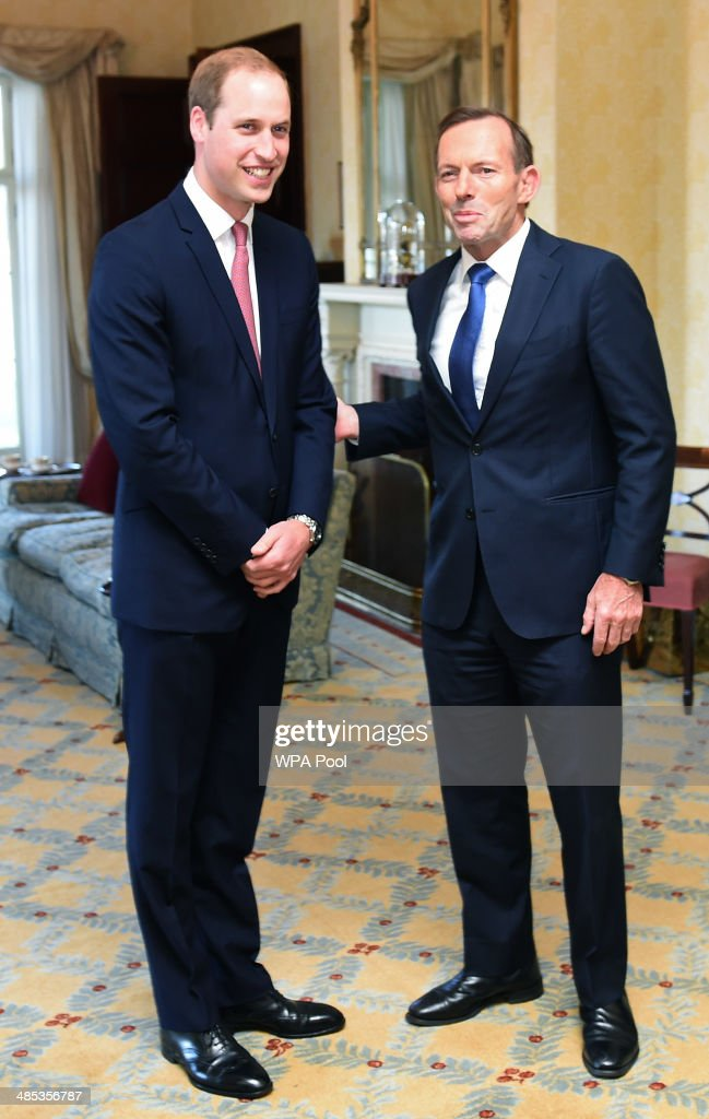 <a gi-track='captionPersonalityLinkClicked' href=/galleries/search?phrase=Prince+William&family=editorial&specificpeople=178205 ng-click='$event.stopPropagation()'>Prince William</a>, Duke of Cambridge meets the Prime Minister of Australia <a gi-track='captionPersonalityLinkClicked' href=/galleries/search?phrase=Tony+Abbott&family=editorial&specificpeople=220956 ng-click='$event.stopPropagation()'>Tony Abbott</a> MP at Admiralty House on April 17, 2014 in Sydney, Australia. The Duke and Duchess of Cambridge are on a three-week tour of Australia and New Zealand, the first official trip overseas with their son, Prince George of Cambridge.