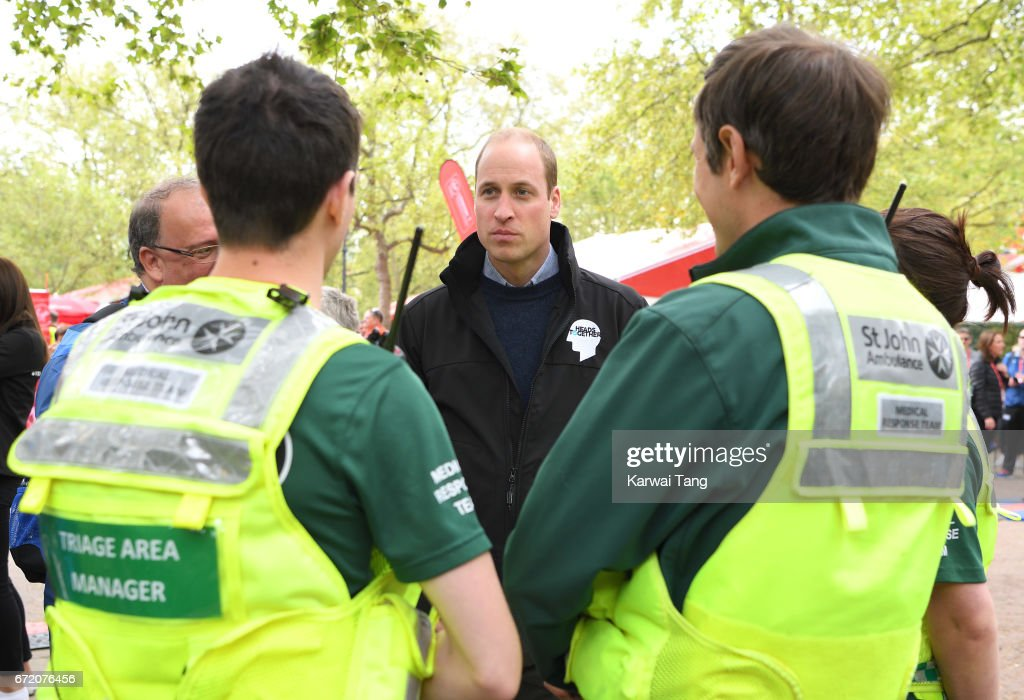Prince William, Duke of Cambridge meets volunteers during the 2017 Virgin Money London Marathon on April 23, 2017 in London, England.