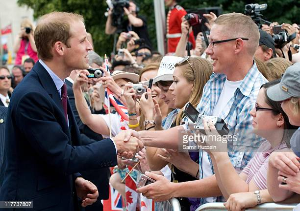 Prince William Duke of Cambridge meets well wishers on a walkabout following the wreath laying ceremony at the National War Memorial on day 1 on the...