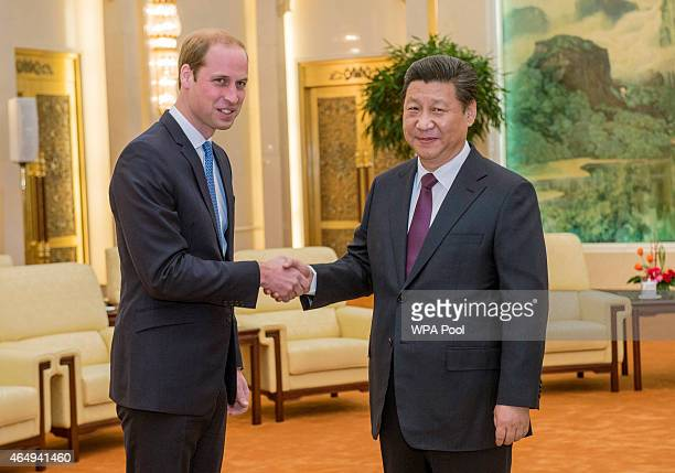 Prince William Duke of Cambridge meets with Chinese President Xi Jinping at the Great Hall of the People on March 2 2015 in Beijing China The Duke of...