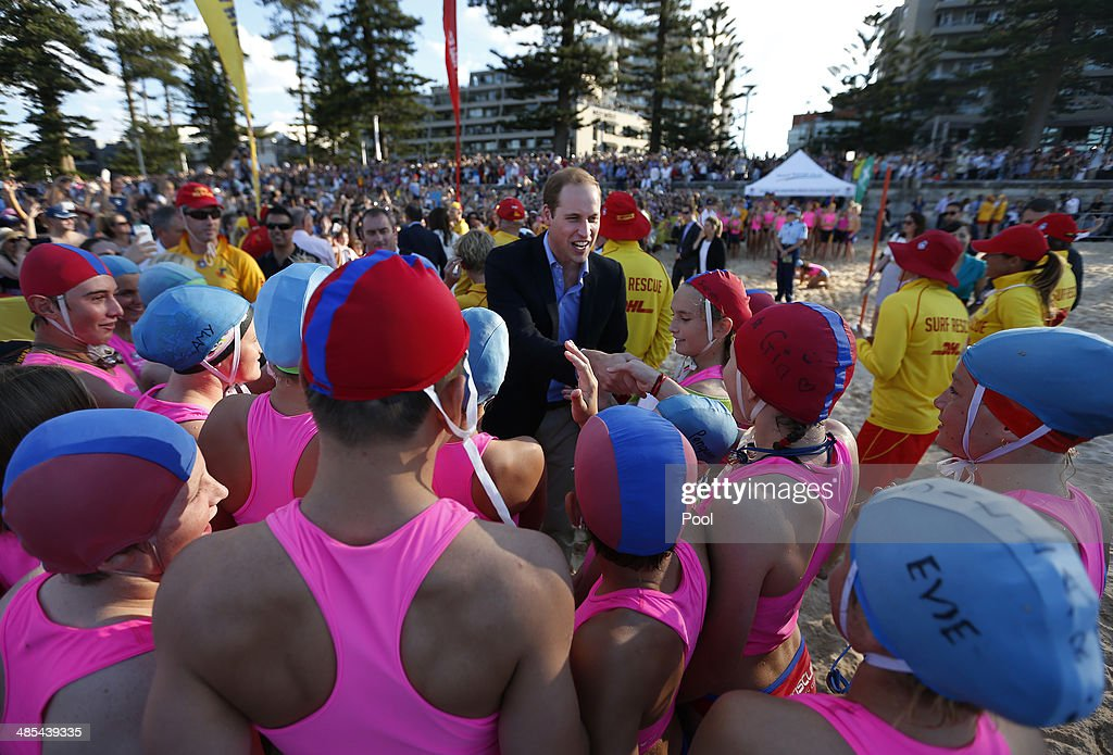 <a gi-track='captionPersonalityLinkClicked' href=/galleries/search?phrase=Prince+William&family=editorial&specificpeople=178205 ng-click='$event.stopPropagation()'>Prince William</a>, Duke of Cambridge meets with young surf lifesavers during a surf lifesaving event on Manly Beach on April 18, 2014 in Sydney, Australia. The Duke and Duchess of Cambridge are on a three-week tour of Australia and New Zealand, the first official trip overseas with their son, Prince George of Cambridge.