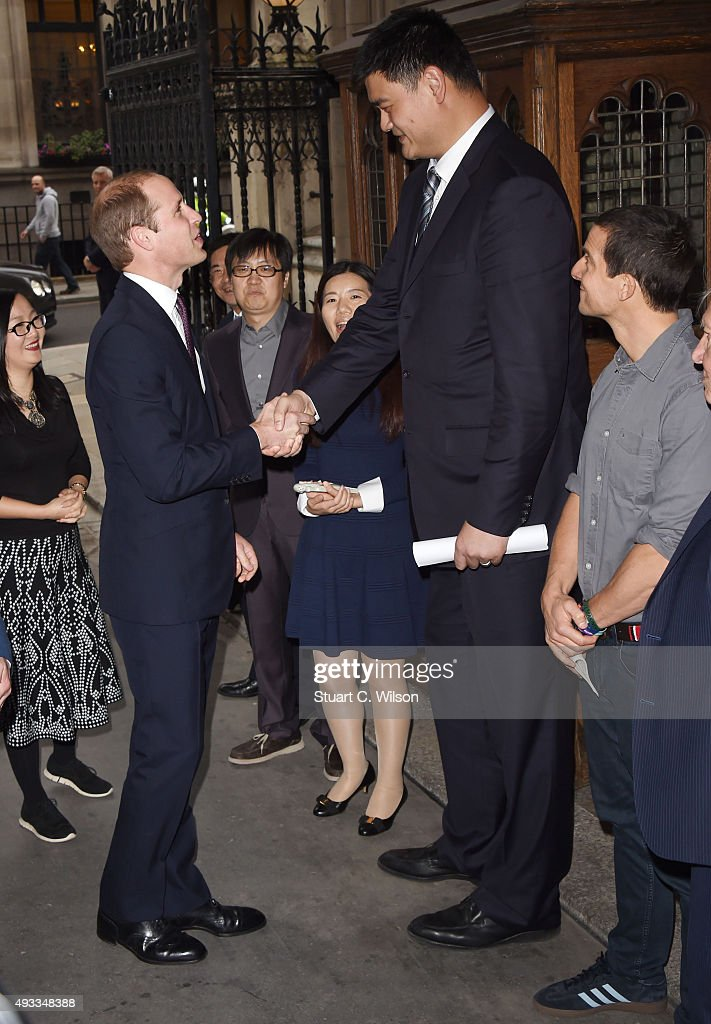 <a gi-track='captionPersonalityLinkClicked' href=/galleries/search?phrase=Prince+William&family=editorial&specificpeople=178205 ng-click='$event.stopPropagation()'>Prince William</a>, Duke of Cambridge, meets <a gi-track='captionPersonalityLinkClicked' href=/galleries/search?phrase=Yao+Ming&family=editorial&specificpeople=201476 ng-click='$event.stopPropagation()'>Yao Ming</a>, Bear Grills and Sir <a gi-track='captionPersonalityLinkClicked' href=/galleries/search?phrase=David+Attenborough&family=editorial&specificpeople=224654 ng-click='$event.stopPropagation()'>David Attenborough</a> before delivering a speech on the illegal wildlife Trade For Chinese Television at King's College London on October 19, 2015 in London, England.