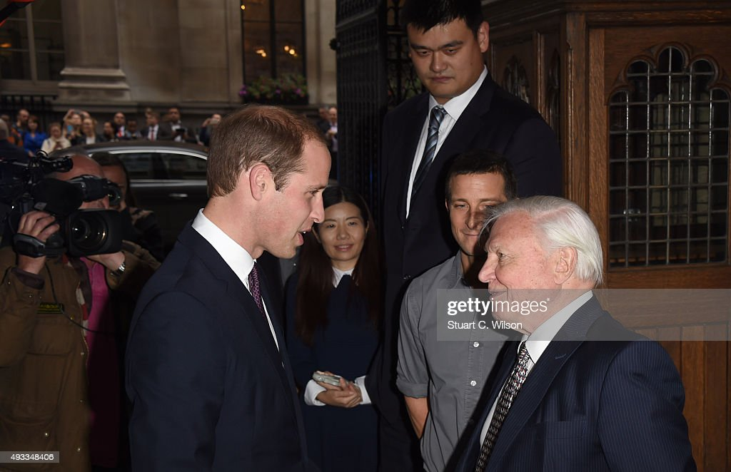 Prince William, Duke of Cambridge, meets Yao Ming, Bear Grills and Sir David Attenborough before delivering a speech on the illegal wildlife Trade For Chinese Television at King's College London on October 19, 2015 in London, England.