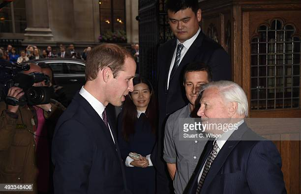 Prince William Duke of Cambridge meets Yao Ming Bear Grills and Sir David Attenborough before delivering a speech on the illegal wildlife Trade For...