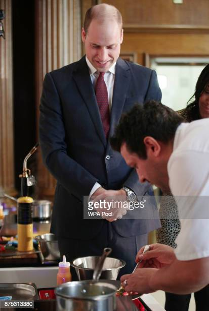 Prince William Duke of Cambridge observes a cookoff involving beneficiaries of the charity during the launch of LandAid's Pledge150 campaign at the...