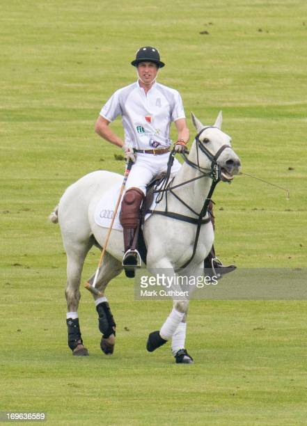Prince William Duke of Cambridge playing in the Audi Polo Challenge at Chester Racecourse on May 29 2013 in Chester England