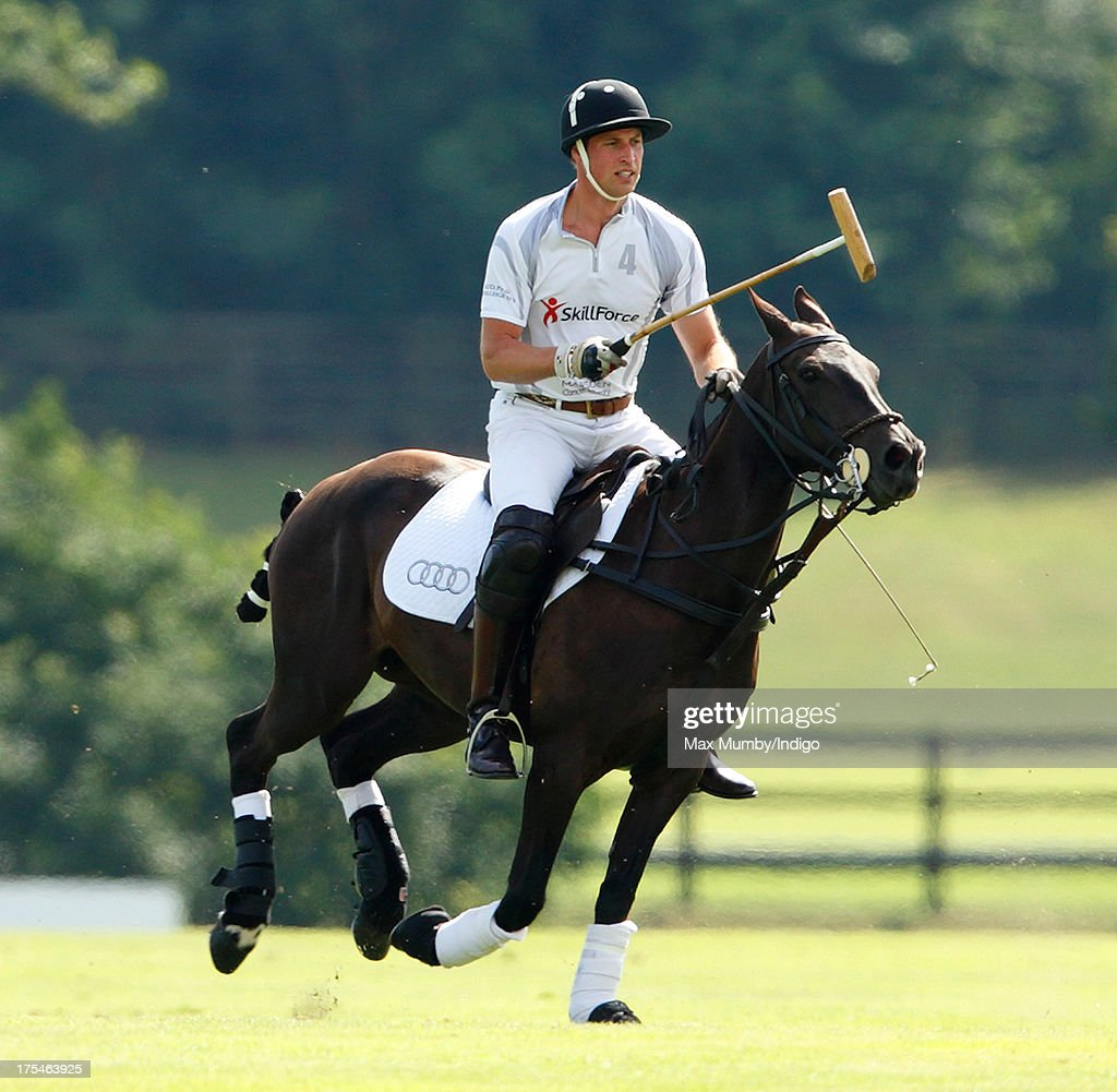Prince William, Duke of Cambridge plays in the Audi Polo Challenge at Coworth Park Polo Club on August 3, 2013 in Ascot, England.