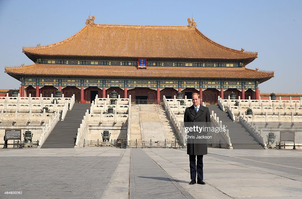 Prince William, Duke of Cambridge poses for a photograph during a visit to the Forbidden City on March 2, 2015 in Beijing, China. The Duke of Cambridge is on a four day visit to China. The Duke of Cambridge is the most senior royal to visit China since the Queen and Duke of Edinburgh in 1986. His visit follows on from a successful four day visit to Japan