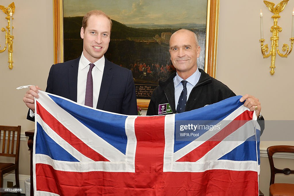 Prince William, Duke of Cambridge poses with Henry Worsley, who will attempt the 2015/16 Shackleton solo challenge where the Polar explorer will be attempting to undertake Sir Ernest Shackleton's unfinished journey to the South Pole from the Weddell Sea at Kensington Palace on October 19, 2015 in London, England