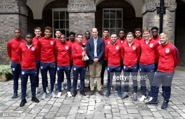 Prince William Duke of Cambridge President of the Football Association poses with Ezri Konsa Ademola Lookman Freddie Woodman Dominic CalvertLewin...