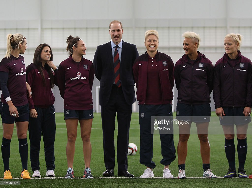 Prince William, Duke of Cambridge, President of the Football Association, visits the England Women Senior Team at The National Football Centre at St. George's Park on May 20, 2015 in Burton-Upon-Trent, England.