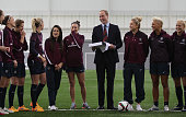 Prince William Duke of Cambridge President of the Football Association visits the England Women Senior Team at The National Football Centre at St...