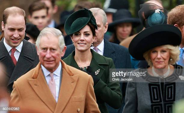Prince William Duke of Cambridge Prince Charles Prince of Wales Catherine Duchess of Cambridge and Camilla Duchess of Cornwall attend a Christmas Day...