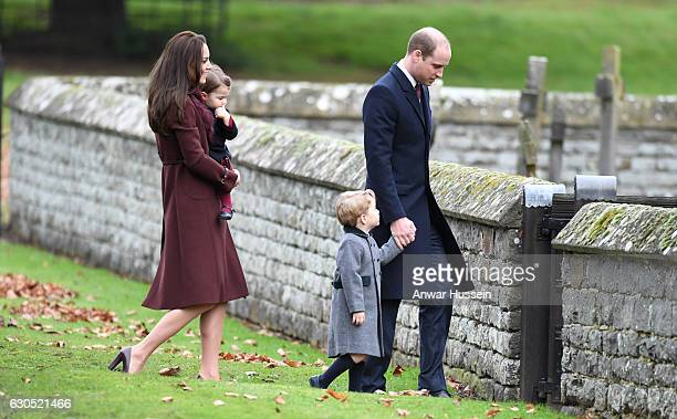 Prince William Duke of Cambridge Prince George of Cambridge Catherine Duchess of Cambridge and Princess Charlotte of Cambridge attend a Christmas Day...