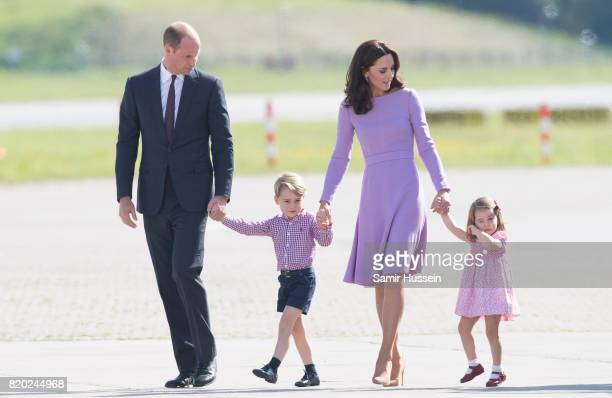 Prince William Duke of Cambridge Prince George Princess Charlotte of Cambridge and Catherine Duchess of Cambridge view helicopter models H145 and...