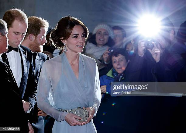 Prince William Duke of Cambridge Prince Harry and Catherine Duchess of Cambridge attend the Royal Film Performance of 'Spectre'at Royal Albert Hall...