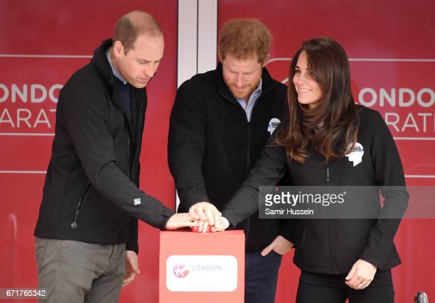 Prince William Duke of Cambridge Prince Harry and Catherine Duchess of Cambridge officially start the 2017 Virgin Money London Marathon elite men's...