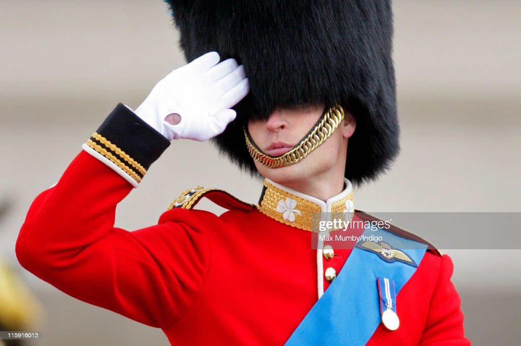 <a gi-track='captionPersonalityLinkClicked' href=/galleries/search?phrase=Prince+William&family=editorial&specificpeople=178205 ng-click='$event.stopPropagation()'>Prince William</a>, Duke of Cambridge salutes as he rides his horse in the Trooping the Colour parade on June 11, 2011 in London, England. The ceremony of Trooping the Colour is believed to have first been performed during the reign of King Charles II. In 1748, it was decided that the parade would be used to mark the official birthday of the Sovereign. More than 600 guardsmen and cavalry make up the parade, a celebration of the Sovereign's official birthday, although the Queen's actual birthday is on 21 April.