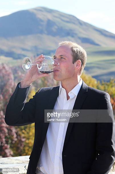 Prince William Duke of Cambridge samples red wine as the visit Otago Wines at Amisfield winery on April 13 2014 in Queenstown New Zealand The Duke...