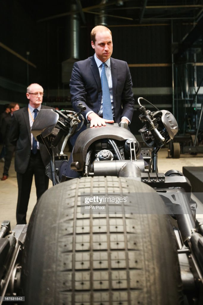 Prince William, Duke of Cambridge site the 'Batpod', which was used in the Batman films as he attends the Inauguration Of Warner Bros. Studios Leavesden on April 26, 2013 in London, England.