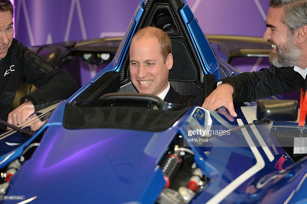 Prince William, Duke of Cambridge sits in a BAC 'Mono' Car as they visit the National Graphene Institute at the University of Manchester during a visit to Manchester on October 14, 2016 in Manchester, England.