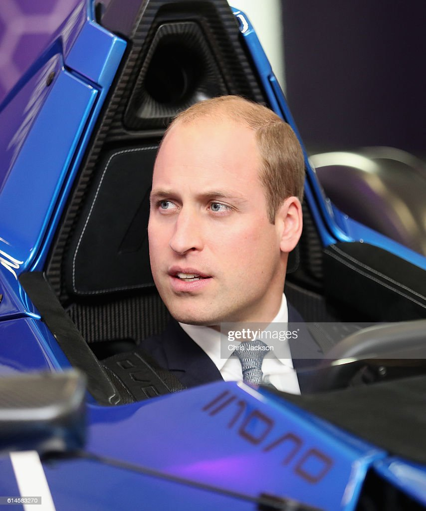 Prince William, Duke of Cambridge sits in a BAC 'Mono' Car during a visit to the National Graphene Institute at the University of Manchester during an official visit to Manchester on October 14, 2016 in Manchester, England.