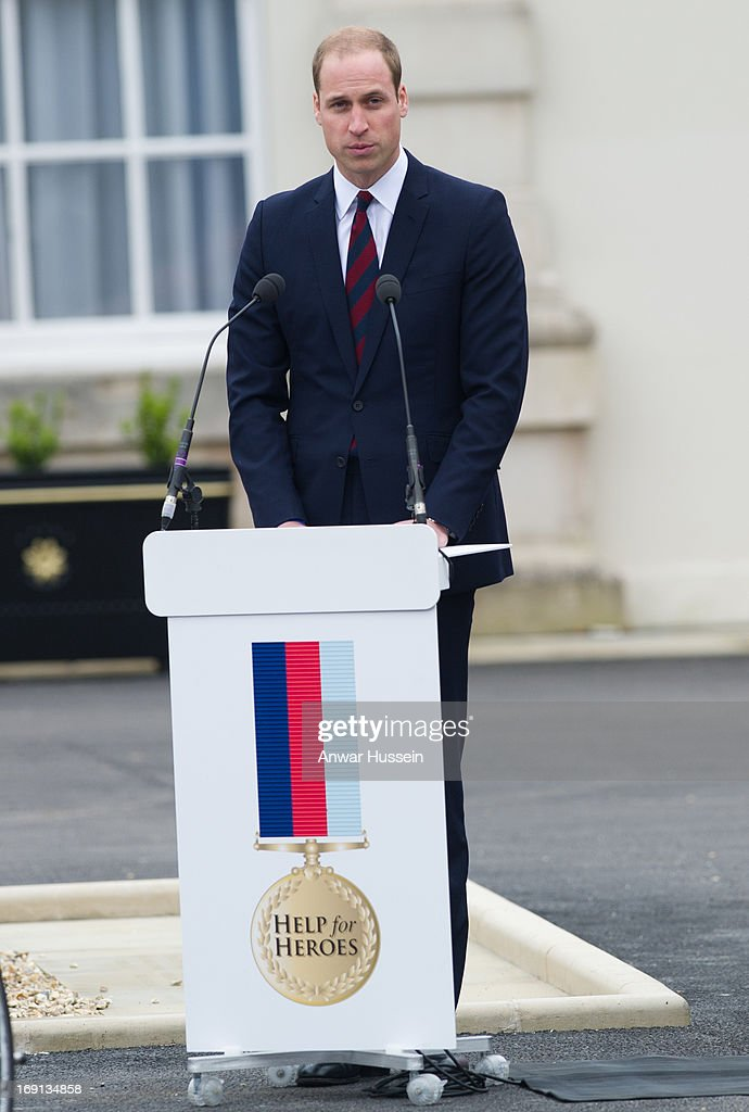 <a gi-track='captionPersonalityLinkClicked' href=/galleries/search?phrase=Prince+William&family=editorial&specificpeople=178205 ng-click='$event.stopPropagation()'>Prince William</a>. Duke of Cambridge speaks as he visits Help For Heroes Recovery Centre on May 20, 2013 in Tidworth, England.