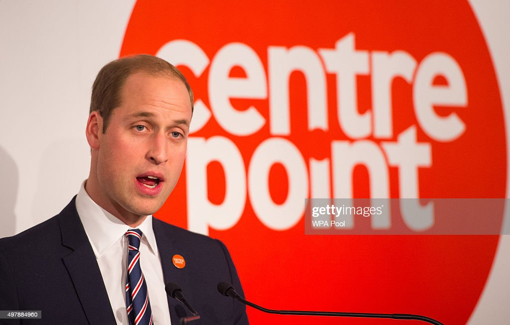 Prince William, Duke of Cambridge speaks at the launch of the Centrepoint Awards at the HSBC private bank on November 19, 2015 in London, England. The event is the first awards ceremony for the youth homeless charity, celebrating the achievements of young people who have changed the direction of their lives after experiencing homelessness.