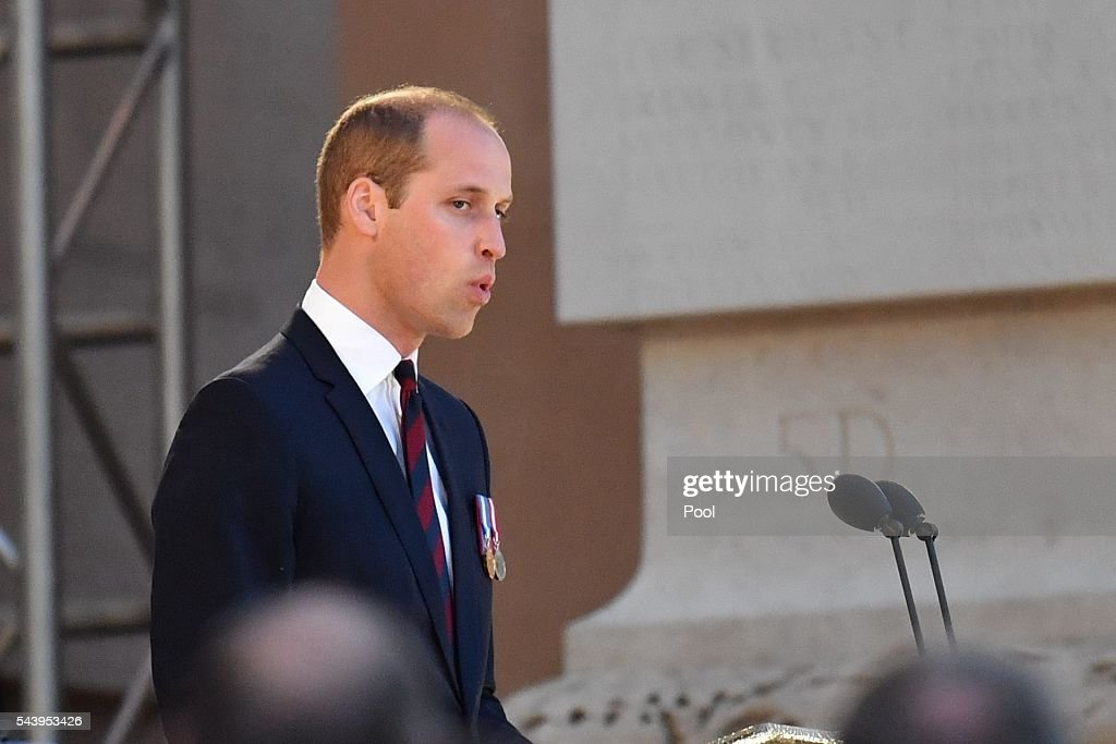 <a gi-track='captionPersonalityLinkClicked' href=/galleries/search?phrase=Prince+William&family=editorial&specificpeople=178205 ng-click='$event.stopPropagation()'>Prince William</a>, Duke of Cambridge speaks at the Somme Centenary commemorations at the Thiepval Memorial on June 30, 2016 in Albert, France.