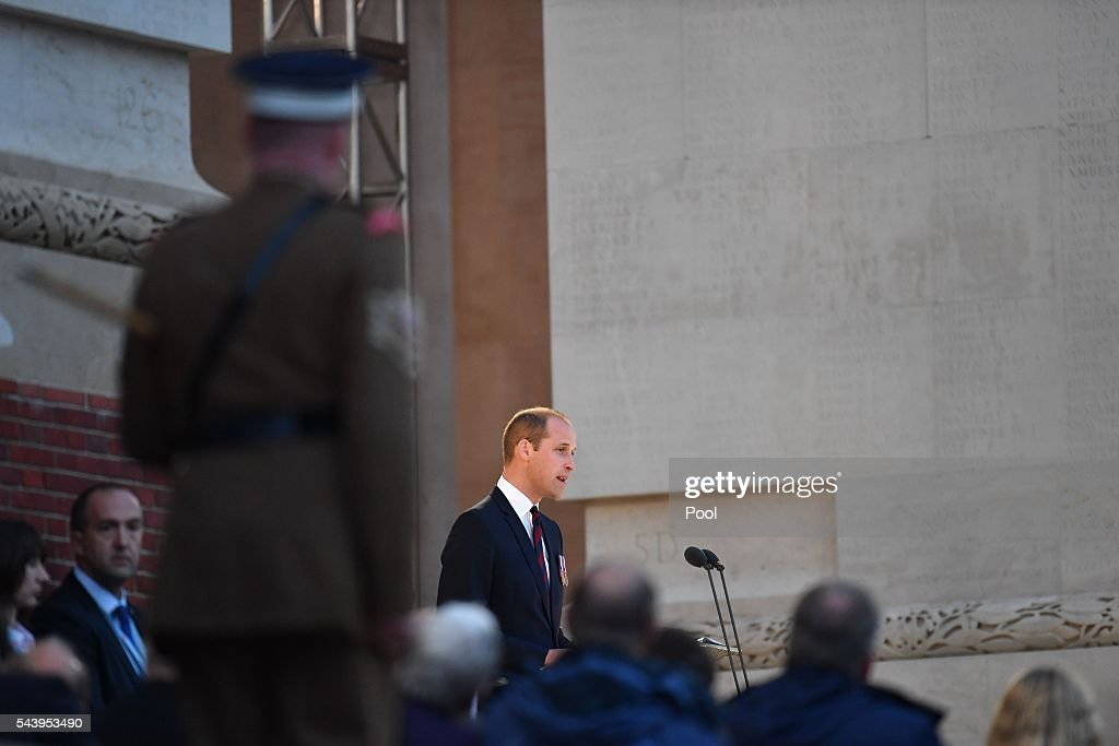 Prince William, Duke of Cambridge speaks at the Somme Centenary commemorations at the Thiepval Memorial on June 30, 2016 in Albert, France.