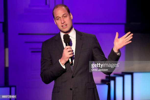 Prince William Duke of Cambridge speaks on stage at the screening of the BBC documentary 'Mind over Marathon' at BBC Radio Theatre on April 18 2017...