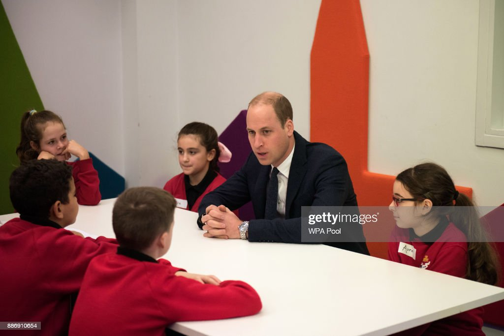 Prince William, Duke of Cambridge speaks to children as she meets school children during a 'Stepping Out' session at MediaCityUK on December 6, 2017 in Salford, England.