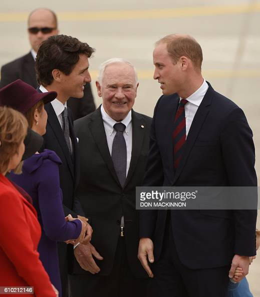 Prince William Duke of Cambridge speaks with Prime Minister Justin Trudeau while David Johnston Governor General of Canada looks on at 443 Maritime...