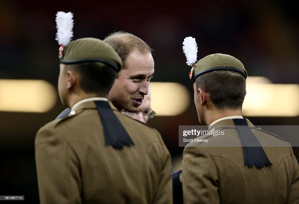Prince William, Duke of Cambridge speaks with servicemen during an International between Wales and South Africa at Millennium Stadium on November 9, 2013 in Cardiff, Wales.