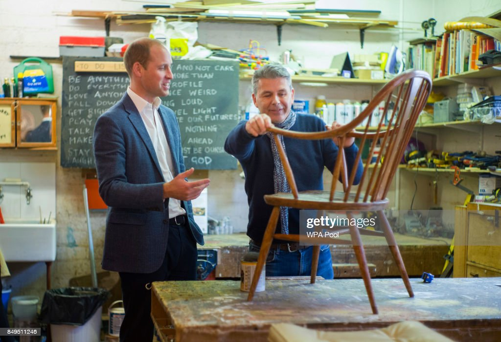 Prince William, Duke of Cambridge speaks with volunteer and former client Bernard Bristow during a visit to the Spitalfields Crypt Trust in St Leonard's Church, Shoreditch on September 19, 2017 in London, England. The trust aims to provide a holistic recovery service for those dealing with complex drug and alcohol addictions.