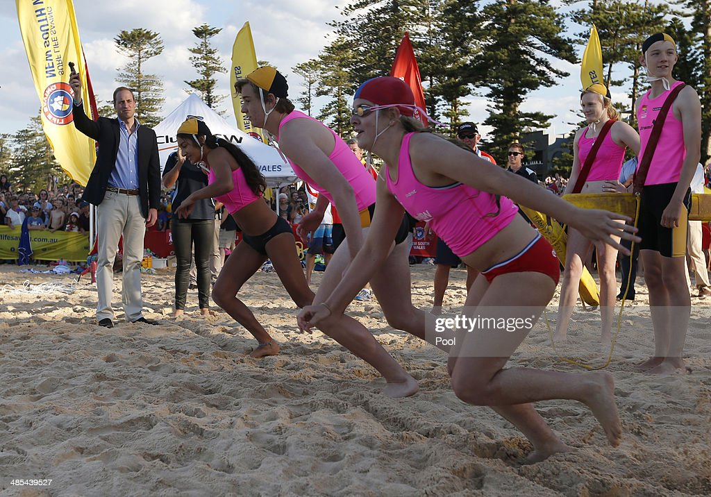 Prince William, Duke of Cambridge starts a beach sprint race for young lifesavers during a surf lifesaving event on Manly Beach on April 18, 2014 in Sydney, Australia. The Duke and Duchess of Cambridge are on a three-week tour of Australia and New Zealand, the first official trip overseas with their son, Prince George of Cambridge.