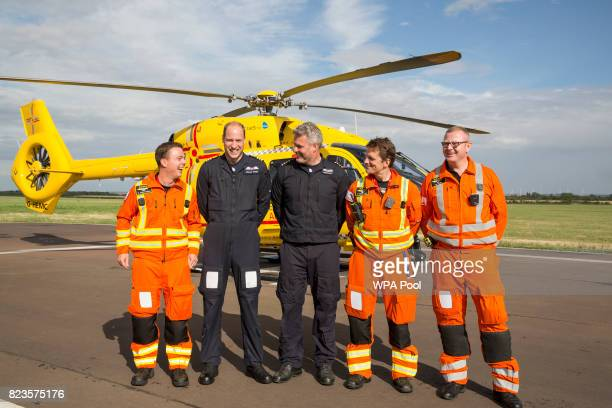 Prince William Duke of Cambridge starts his final shift with the East Anglian Air Ambulance based out of Marshall Airport on July 27 2017 near...