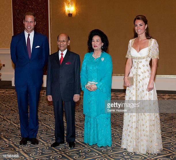Prince William Duke of Cambridge Sultan Abdul Halim Mu'adzam Shah of Kedah the Yang diPertuan Agong of Malaysia and his wife Tuanku Haminah binti...