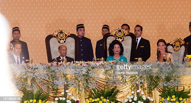 Prince William Duke of Cambridge Sultan Abdul Halim Mu'adzam Shah of Kedah the Yang diPertuan Agong of Malaysia and his wife Sultanah Tuanku Haminah...